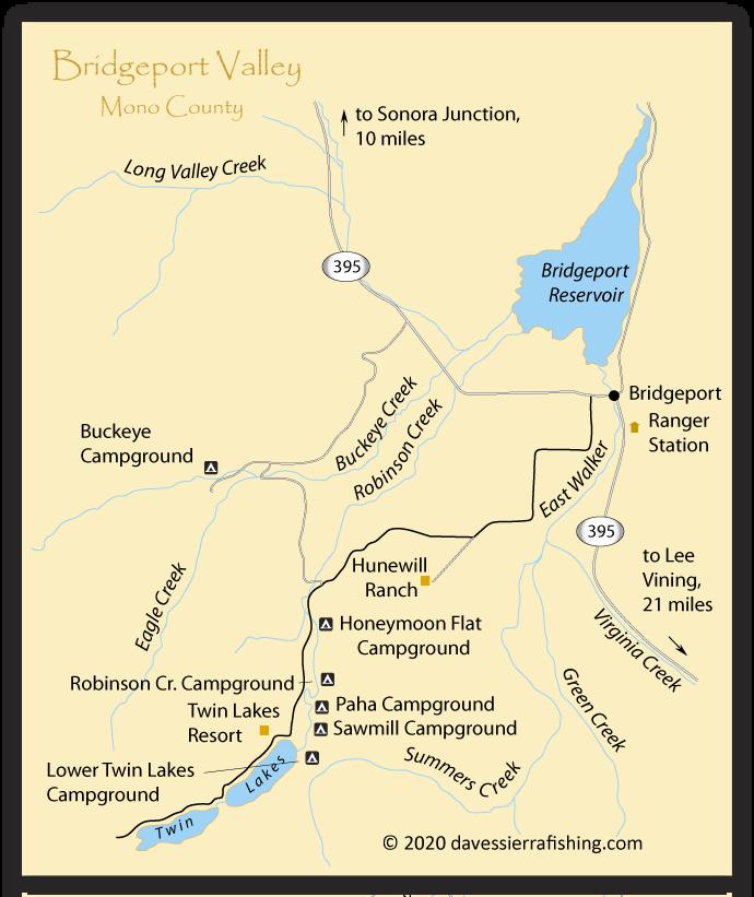Bridgeport Valley Fishing Map  Eastern Sierra Fishing Maps