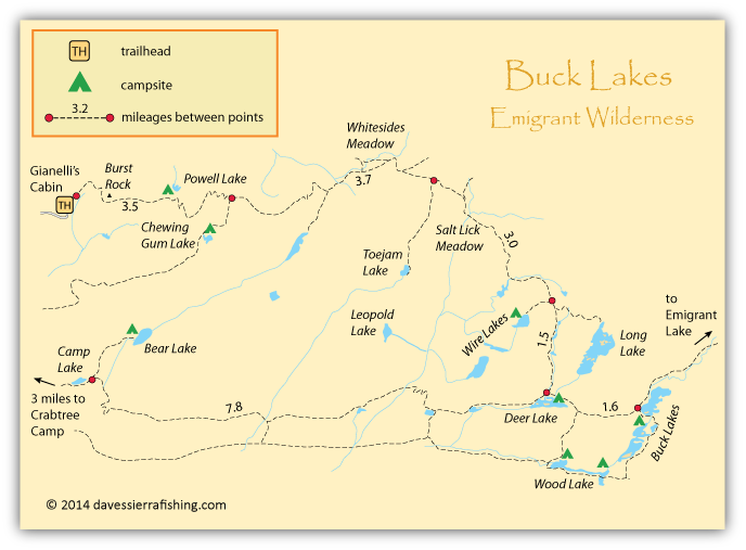 Buck Lakes Fishing Map | Dave\'s Sierra Fishing