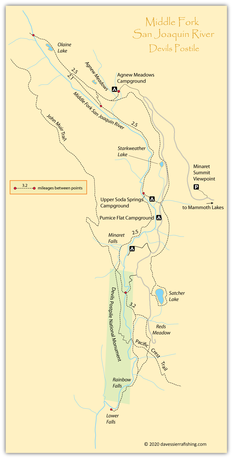 Map of the Reds Meadow and Devils Postpile area, Mono County, CA