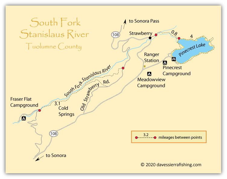 South fork stanislaus river map dave 39 s sierra fishing for Stanislaus river fishing