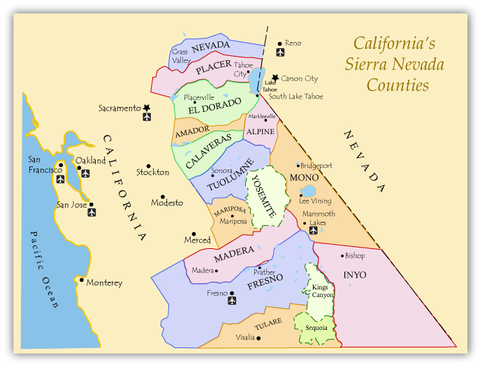 Fishing Map of Californias Sierra Nevada