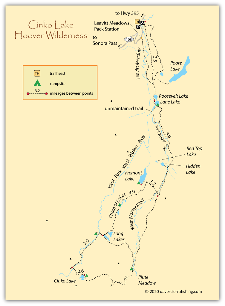 Map of Cinko Lake trails, Mono County, CA