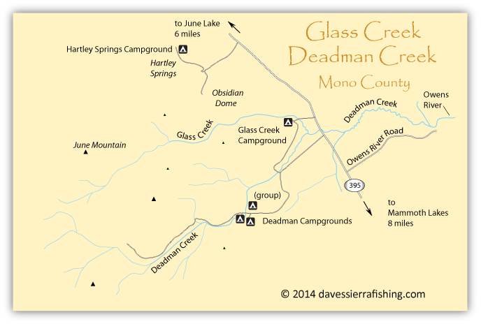 Map of the Glass Creek and Deadman Creek area, Mono County, CA