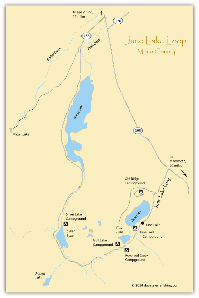 Map of the June Lake Loop, Mono County, CA