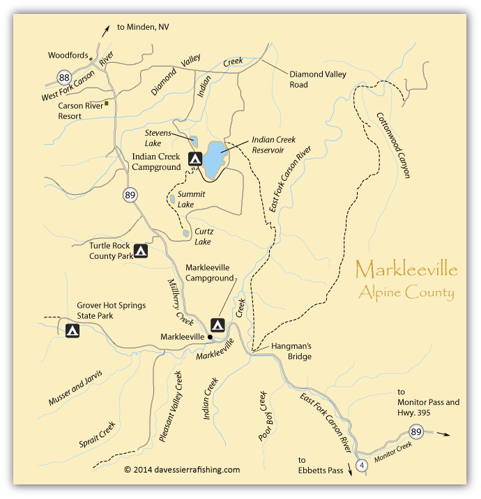 Map of the Carson River | Eastern Sierra Maps - Carson Ca Map on