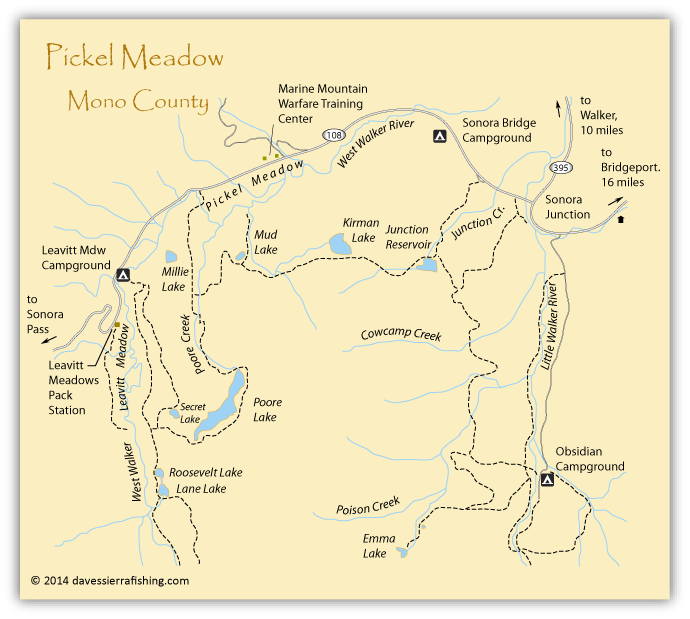 Map of Pickel Meadow, Mono County, CA