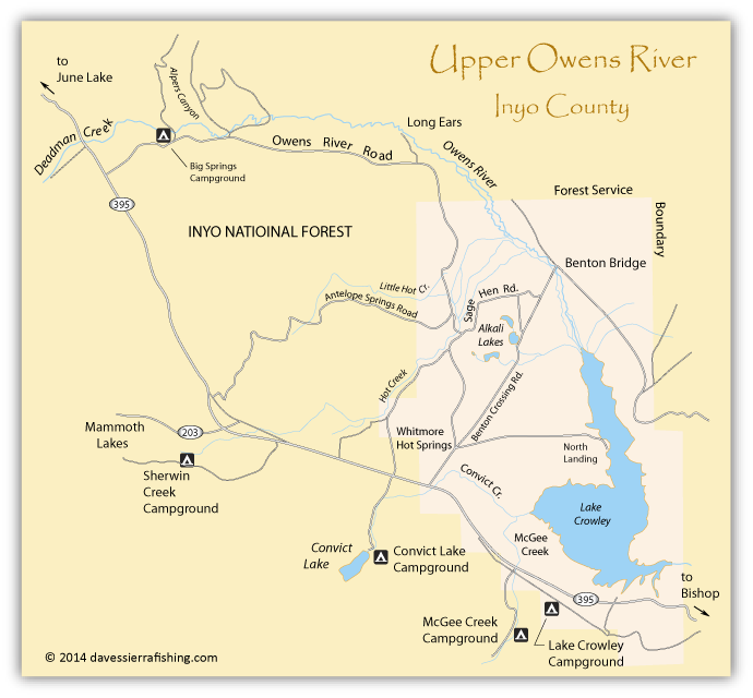 Map of Upper Owens River, Mono County, CA