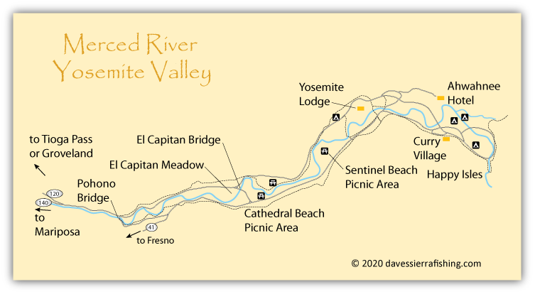 Merced River Map- Yosemite Valley