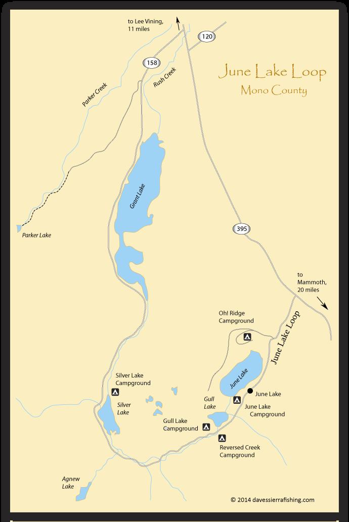 June Lake Loop Fishing Map Eastern Sierra Fishing Maps